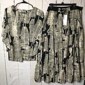 Summum Woman 2 Pc Set Skirt and Top Hawaiian L NWT